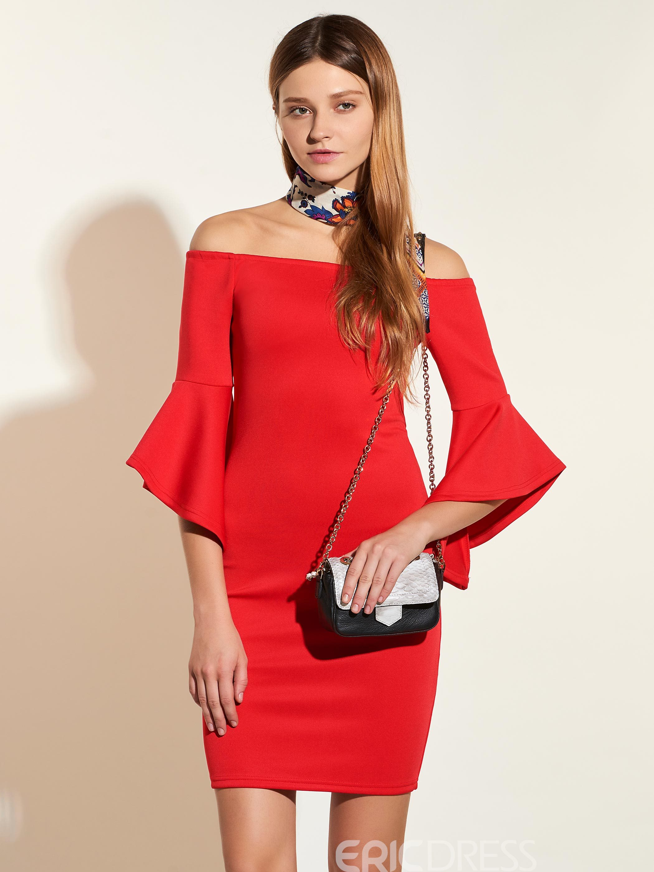 Ericdress Off-the-Shoulder Bell Sleeve Bodycon Dress 12782459