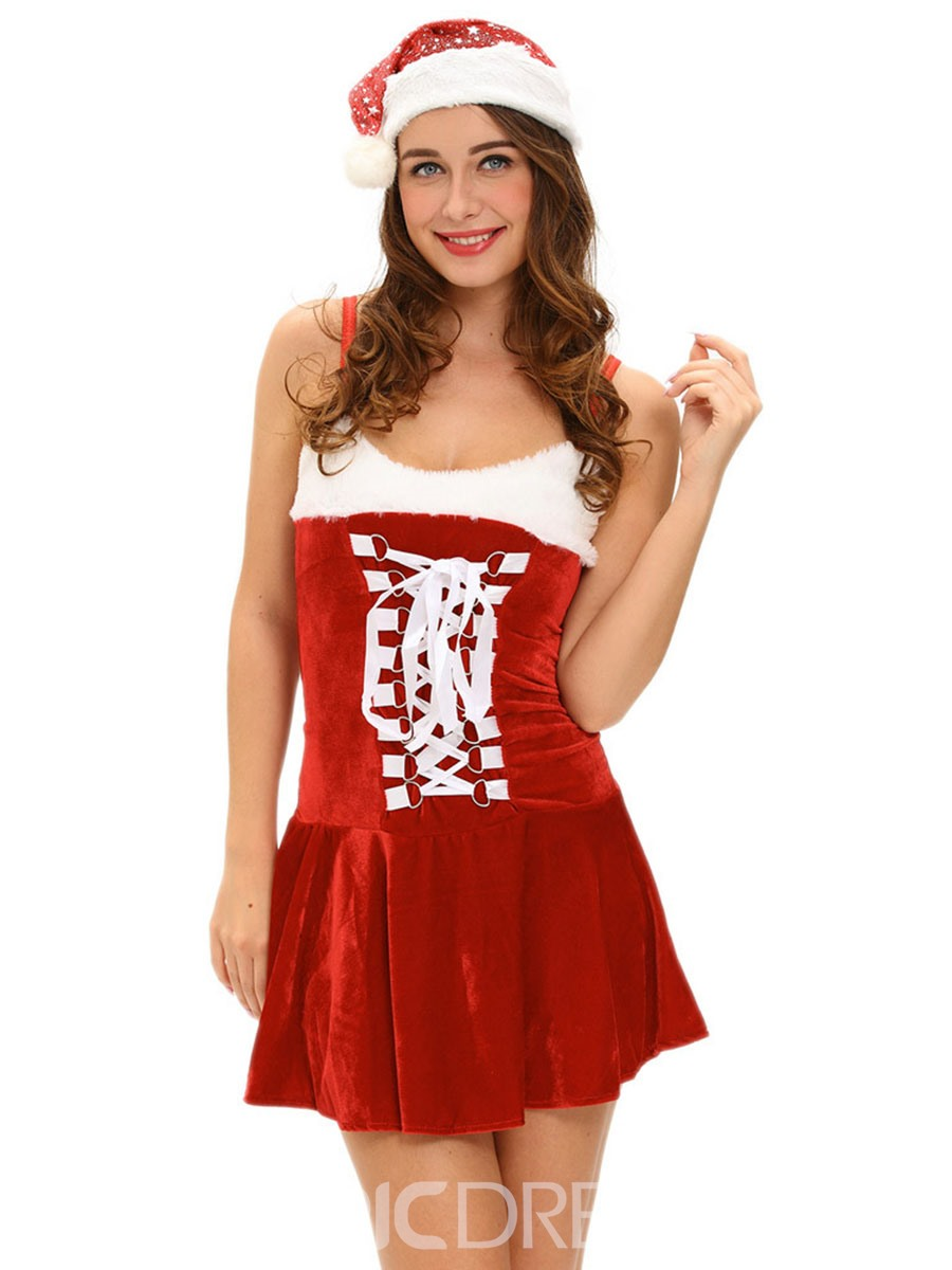 Ericdress Spaghetti Strap Pleated Patchwork Christmas Costume