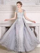Ericdress Stunning Cap Sleeve Flower Pearl Beaded Prom Dress With Detachable Train