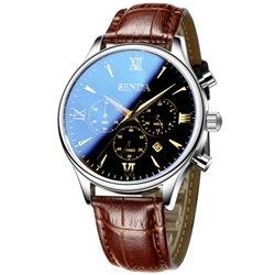 Ericdress Ultra Thin Leather Band Design Mens Watch