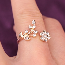 Ericdress Rhinestone Flower & Branches Alloy Ring