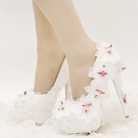Ericdress Blue Shoes High Heels Flower