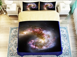 Dazzling Galaxy Print 4-Piece Polyester Duvet Cover Sets