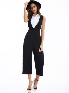 Ericdress Plain Color Slim Wide Legs Jumpsuits Pants