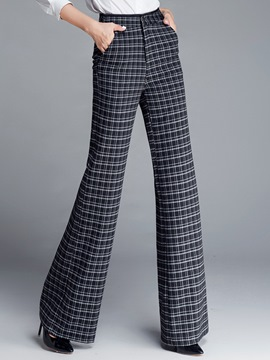 Ericdress Plaid High-Waist Thick Wide Legs Pants