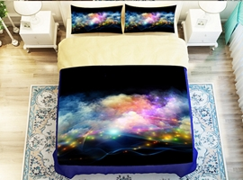 Wonderful Shining Star with Clouds Print 4-Piece Polyester Duvet Cover Sets