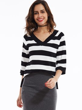 Ericdress V-Neck Raglan Sleeves Striped Knitwear