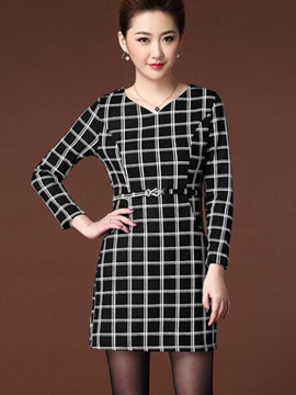 Ericdress Plaid Patchwork V-Neck Belt Bodycon Dress