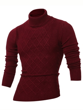 Ericdress Plain Diamond Pattern Large Size Turtle Neck Men's Sweater