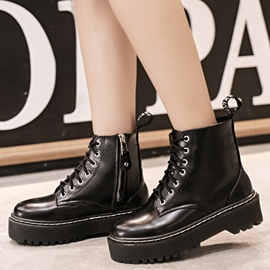 Ericdress Patent Leather Lace up Martin Boots