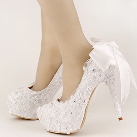 Ericdress Queen Style White Back Bowtie Wedding Shoes