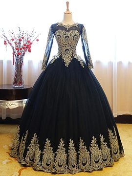Ericdress Ball Long Sleeve Scoop Neck Applique Lace Quinceanera Dress