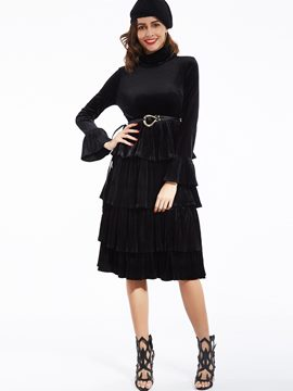 Ericdress Plain Turtleneck Ruffle Sleeves Casual Dress