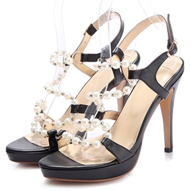 Ericdress Open Toe Strappy Beads Stiletto Sandals