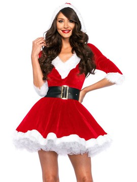 Ericdress V-Neck Falbala Santa Cosplay Christmas Costume
