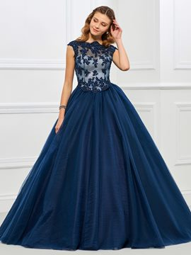 2c3ef3c5e5b Ericdress Cap Sleeve Applique Tulle Ball Quinceanera Gown With Beadings