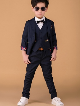 Ericdress Back Floral Print Vest 3-Pcs Boys Suit