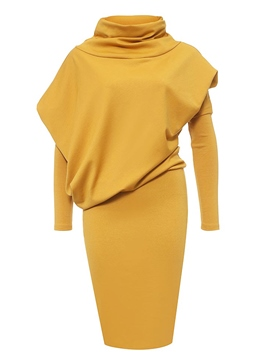 Ericdress Patchwork asymétrique col roulé Bodycon Dress