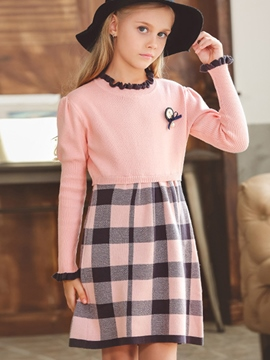 Ericdress Plaid Patchwork Long Sleeve Girls Dress