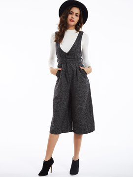 Plain High-Waist Wide Legs Jumpsuit