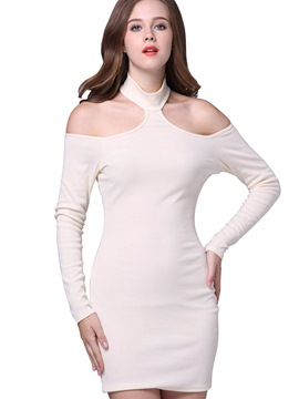 Ericdress Halter Platinum Plated Solid Color Backless Bodycon Dress
