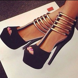 Ericdress Sexy Metal Strappy Platform Stiletto Sandals