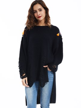 Ericdress Round Neck Epaulet Hollow Decorated Knitwear
