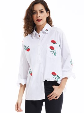 Ericdress Lapel Flower Embroideried Blouse