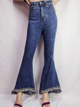 Ericdress Quaste niet High-Waist Bellbottoms Jeans