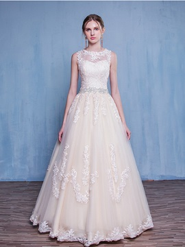 Ericdress Amazing Scoop Appliques A Line Wedding Dress