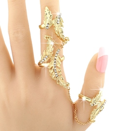Ericdress Exaggerated Diamante Golden Leaves Ring