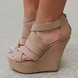 Ericdress Nude Strappy Wedge Sandals