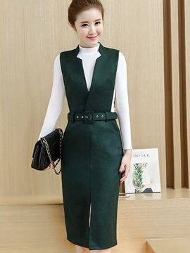Ericdress Turtleneck Long Sleeve Sweater Suspenders Dress Suit