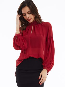 Ericdress Plain Stand Collar Off Shoulder Blouse