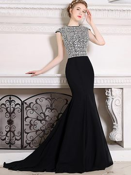 Ericdress Beaded Crystal Cap Sleeve Mermaid Evening Dress