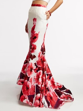 Ericdress Floral Print Floor-Length Skirt