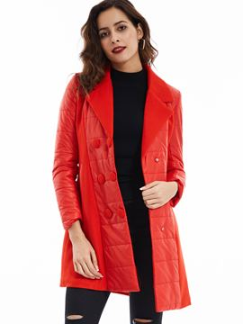 Ericdress Notched Lapel Double-Breasted Cotton Coat