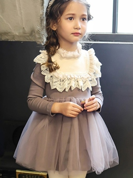 Ericdress Lace-Trim Mesh Patchwork Girl's Dress