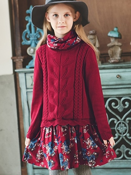 Ericdress Floral Print Sweater Patchwork Girls Dress