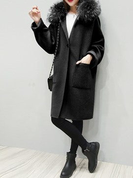 Ericdress Plain Mid-Length One Button Coat