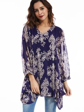 Ericdress Loose Pullover V-Neck Flower Printed Blouse