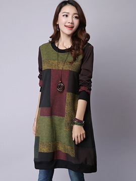 Ericdress Colorful Patchwork Bud Round Collar Casual Dress