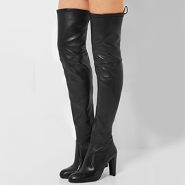 Ericdress Chic Chunky Heel Back Lace-Up Thigh High Boots
