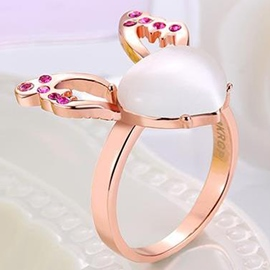 Ericdress Rose Gold Heart-Shaped Design Ring