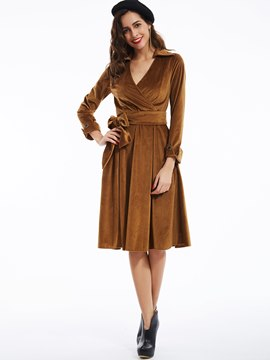 Ericdress Plain V-Neck Expansion Pleated Casual Dress