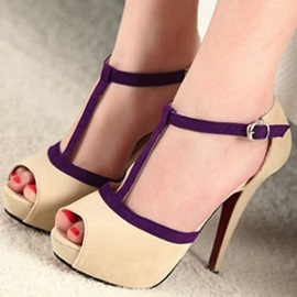 Ericdress Beige Purple Strappy Peep Toe Platform Stiletto Sandals