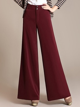 Ericdress Plain Color Thick Wide Legs Pants