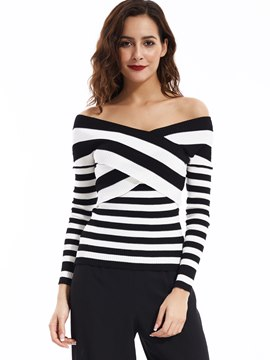 Ericdress Color Block V-Neck Striped Knitwear