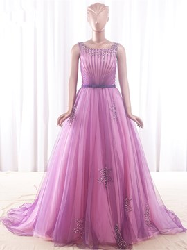 Ericdress A-Line Scoop Beading Pearls Court Train Evening Dress