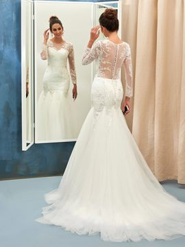 Ericdress Charming Jewel Appliques Long Sleeves Mermaid Wedding Dress